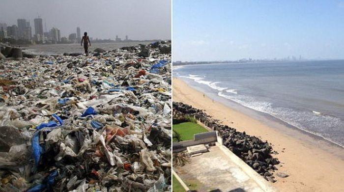 Волонтеры ликвидировали стихийную свалку на пляже Мумбая (5 фото)