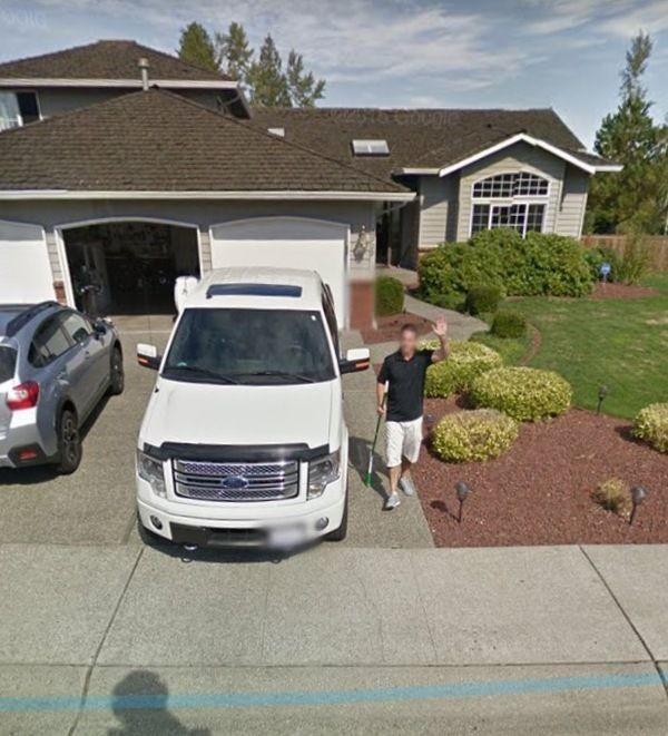 Забавная встреча с автомобилем Google Car (4 фото)