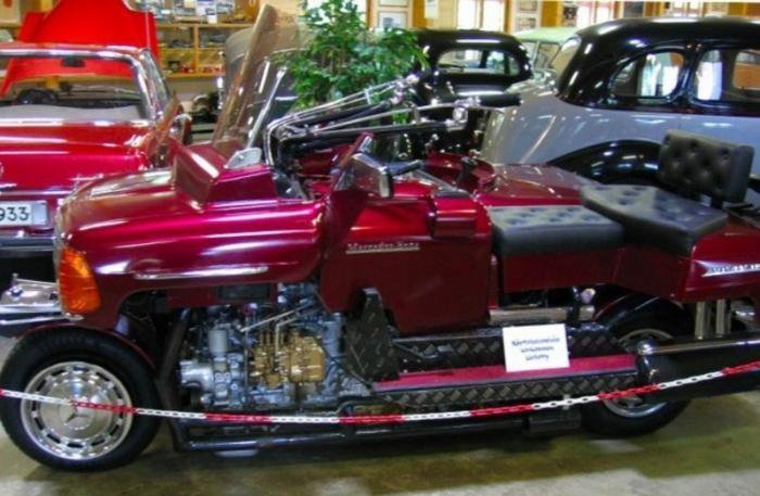 Мотоцикл из деталей классического Mercedes-Benz (7 фото)