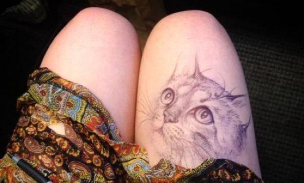 Сверхреалистичные рисунки на женском бедре (8 фото)