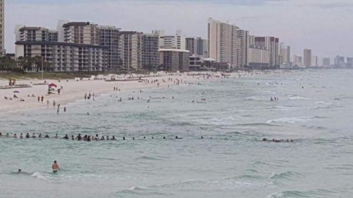 Отдыхающие на пляже выстроились в живую цепь, чтобы спасти утопающих (2 фото)