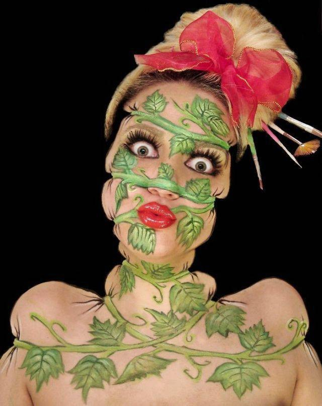 Невероятные образы на лице визажиста и художника Инес Куш (21 фото)