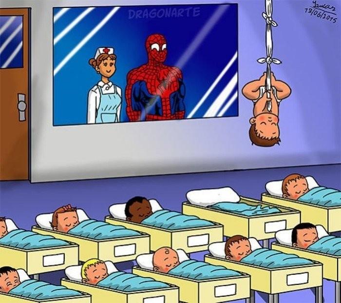 Копия отца: как бы выглядели дети супергероев (14 фото)