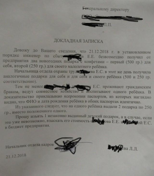 Докладная записка генеральному директору предприятия (2 фото)