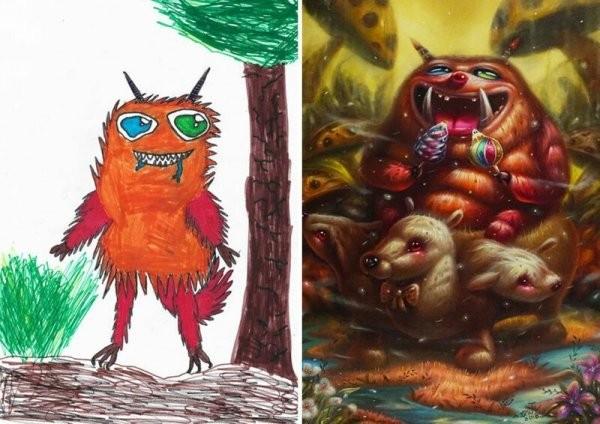 Профессиональные художники превращают детские каракули в уникальные картины (51 фото)