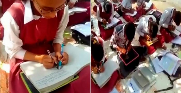 В обычной индийской школе все дети пишут обеими руками (3 фото)