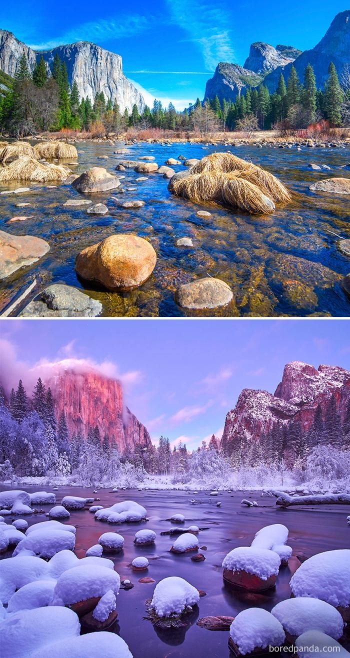 Волшебные места до и во время зимы (11 фото)