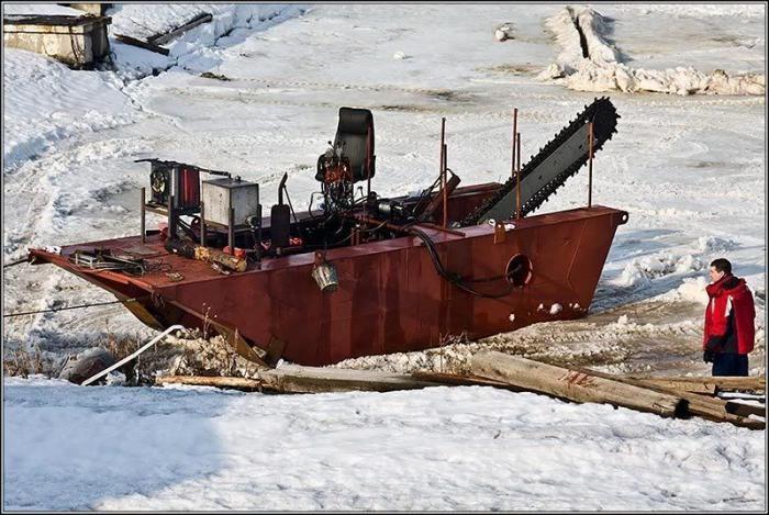 Техника для распиливания льда (3 фото)