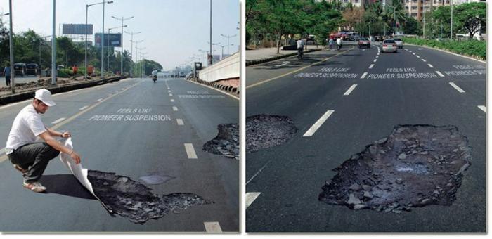 Опасная реклама автомобильной подвески (4 фото)