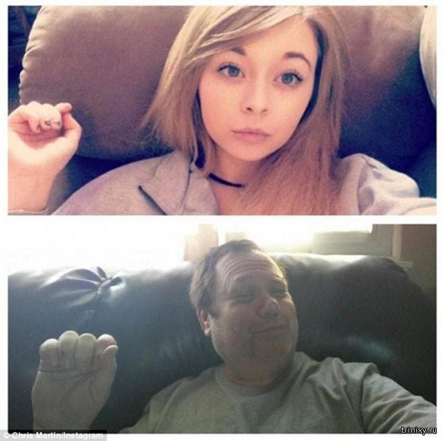 Папин троллинг: отец пародирует селфи своей дочки (6 фото)