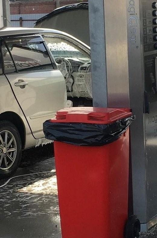 Серьезный подход к мойке автомобиля (2 фото)