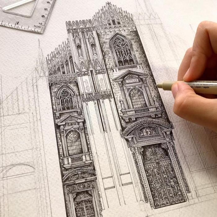 Японка рисует восхитительную архитектуру (10 фото)