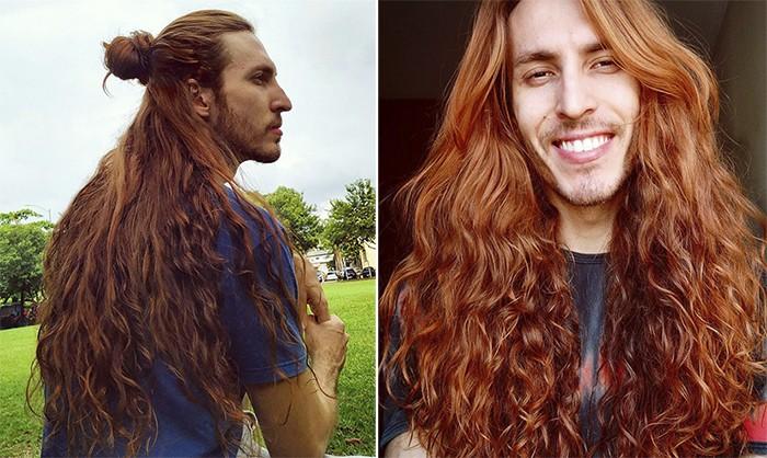 Бразилец удивляет густыми и длинными волосами как у Рапунцель (8 фото)