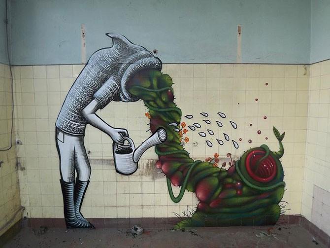 Удивительное уличное искусство от Phlegm (16 фото)