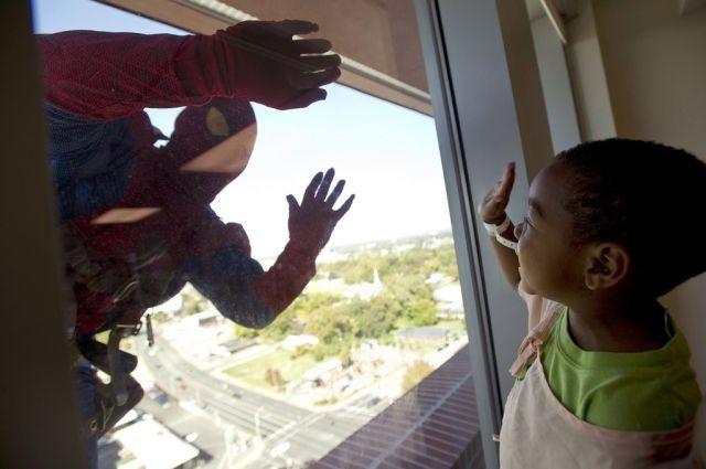 Мойщик окон в костюме человека паука (10 фото)