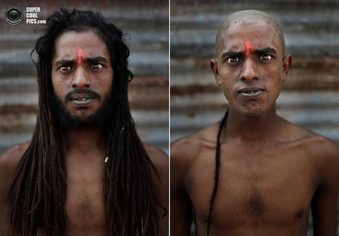 Портреты садху до и после инициации (5 фото)