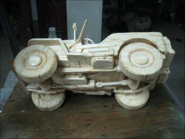 Автомобили и техника из спичек (20 фото)