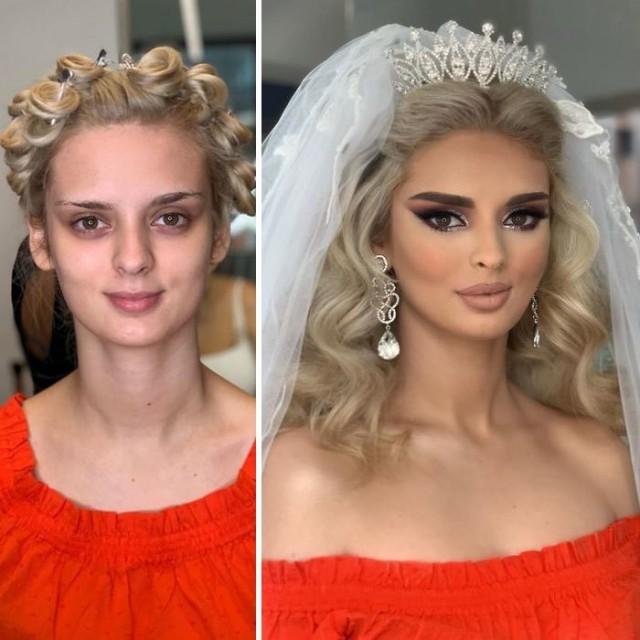 Невесты до и после профессионального макияжа (23 фото)