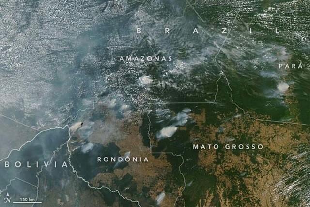 NASA показали снимки из космоса горящих лесов Амазонии (9 фото)