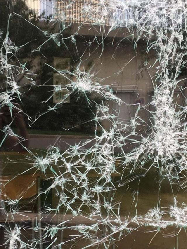 Художнику платят за то, чтобы он разбивал витрины (7 фото)