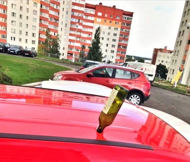 Сюрприз на крыше машины (2 фото)