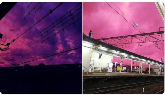 Волшебное небо перед тайфуном в Японии (2 фото)