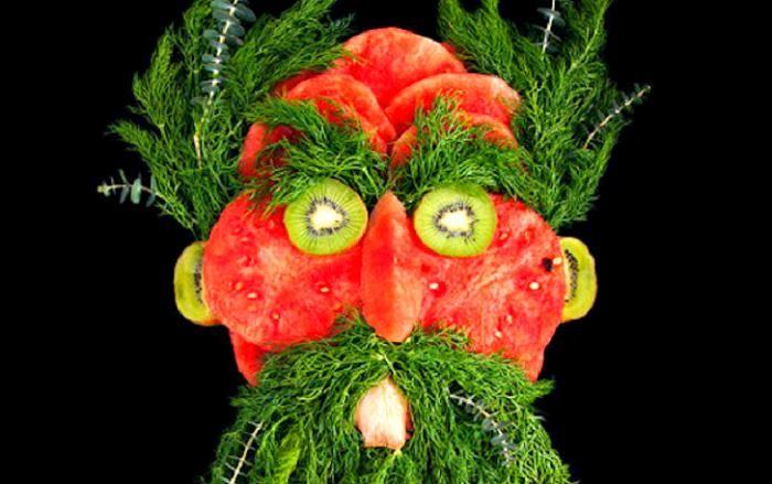 Портреты из сочной зелени и свежих продуктов (11 фото)