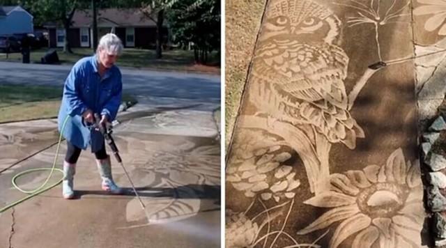 Американка рисует с помощью мойки высокого давления (7 фото)