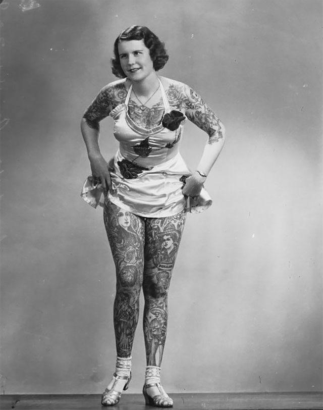Бетти Бродбент - самая татуированная женщина ХХ века (9 фото)