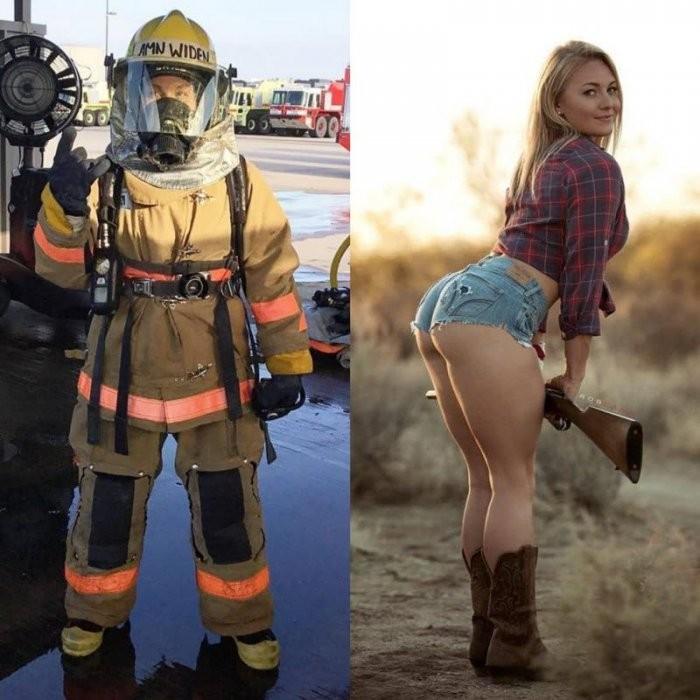 Девушки в рабочей форме и обычной одежде (36 фото)