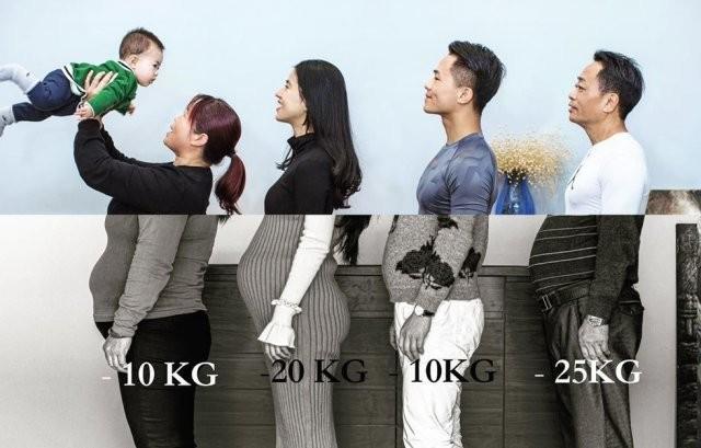 Как пухленькая семья изменилась за полгода тренировок (3 фото)