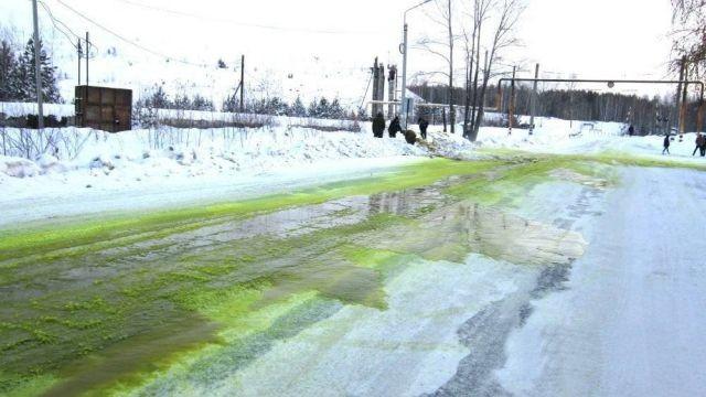 Зеленый снежок в Свердловской области (3 фото)