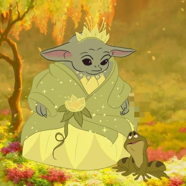 Малыш Йода преобразился в диснеевских принцесс (9 фото)