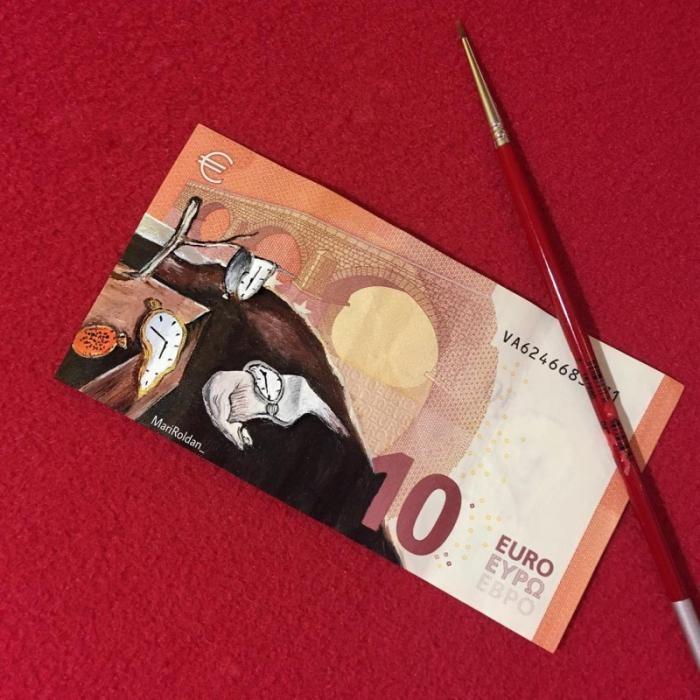 Картины на купюрах от испанской художницы (7 фото)