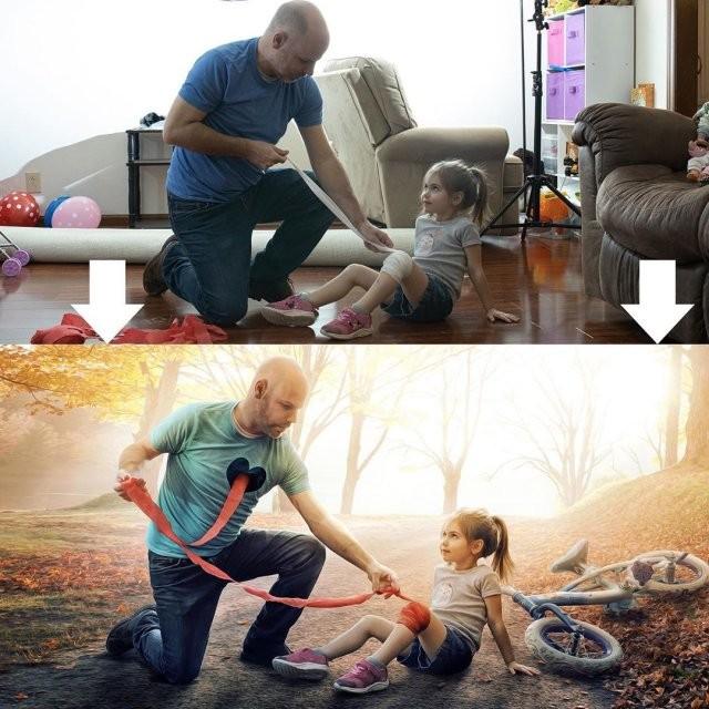 Отец-фотограф Кевин поэтапно показал как превратить снимок (15 фото)
