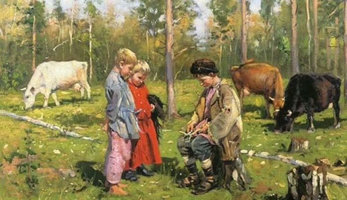 Обязанности крестьянских детей в старину (4 фото)