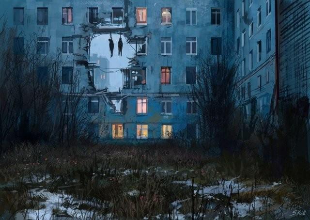 Жуткие и путающие миры, созданные австрийским художником (15 фото)