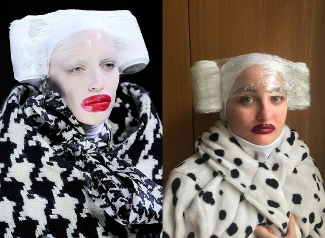 Люди на карантине имитируют нелепые наряды с модных показов (13 фото)