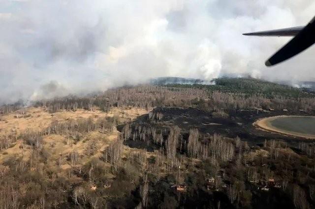 В Чернобыле сильный пожар: пламя уже дошло до Припяти (3 фото)