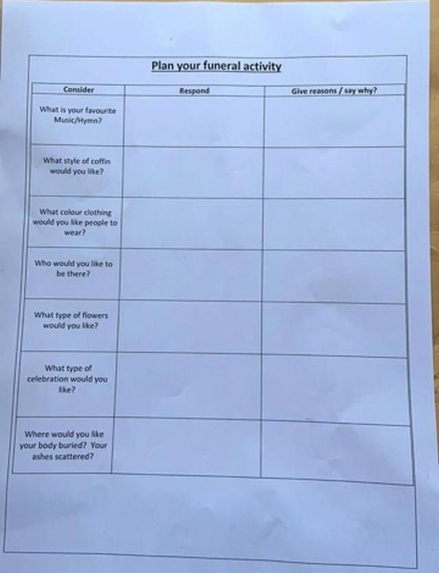 """Задание для британских школьников """"Спланируйте свои похороны"""" (4 фото)"""