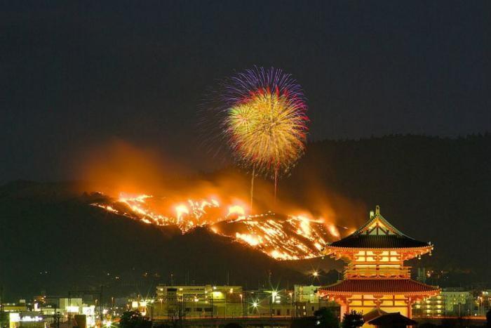 Зачем японцы каждый год поджигают гору (8 фото)