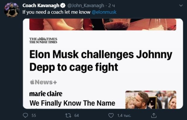 Илон Маск вызвал Джонни Деппа на бой в октагоне (3 фото)