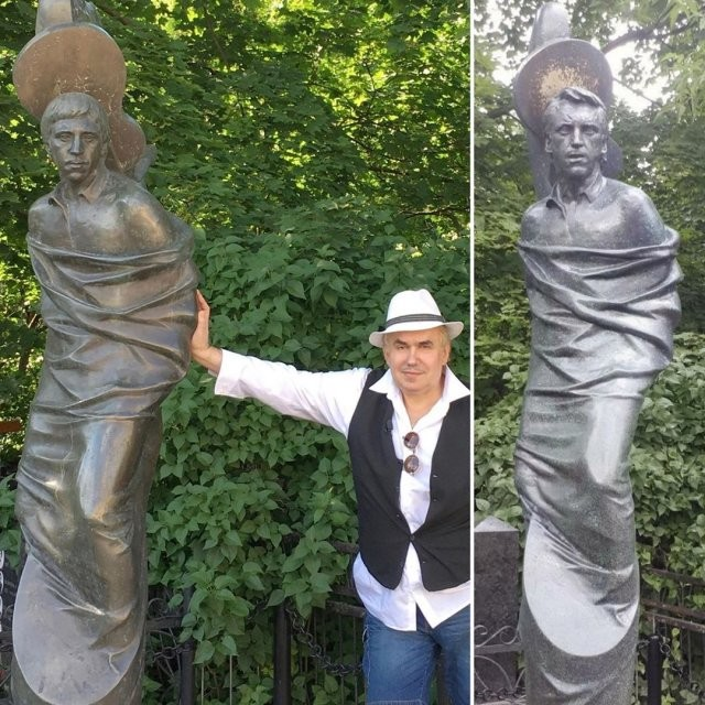 Родственники заменили памятник на могиле Владимира Высоцкого (5 фото)