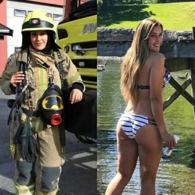 Девушки в униформе и обычной одежде (14 фото)