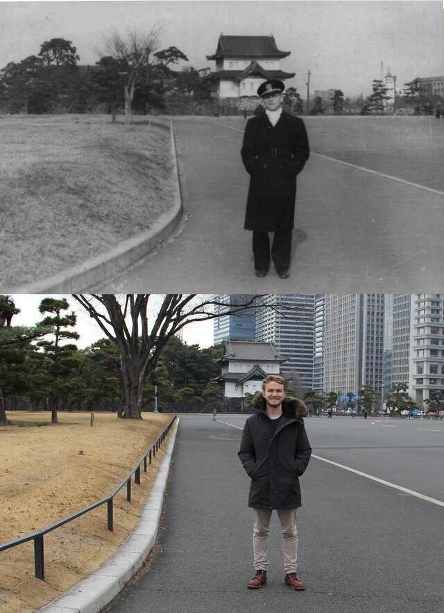 Парень просто повторил фото дедушки спустя 70 лет, но люди видят на фото два разных мира  (2 фото)