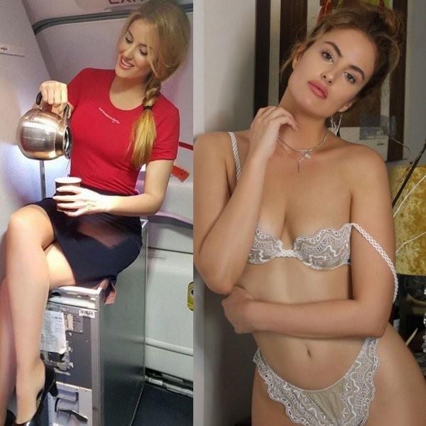 Соблазнительные стюардессы в форме и без нее (24 фото)