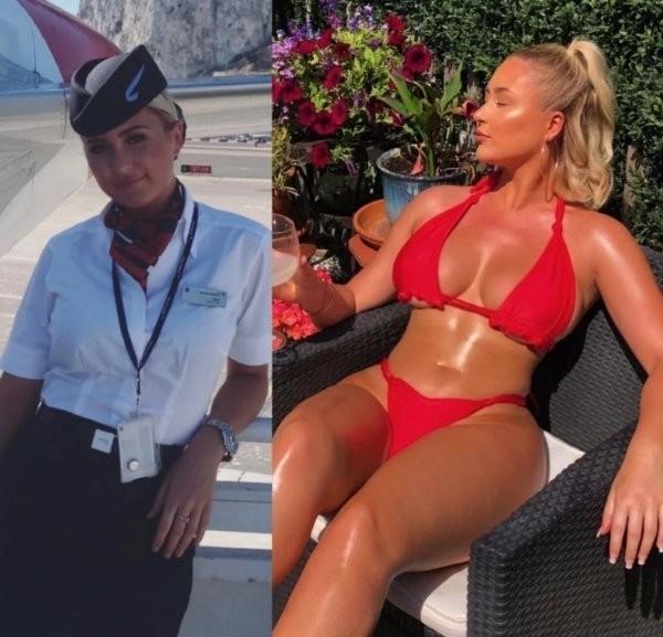 Стюардессы в рабочей форме и без нее (25 фото)