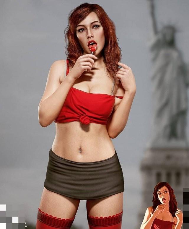 Как бы выглядела рыжая девушка из GTA 4 в реальной жизни (9 фото)