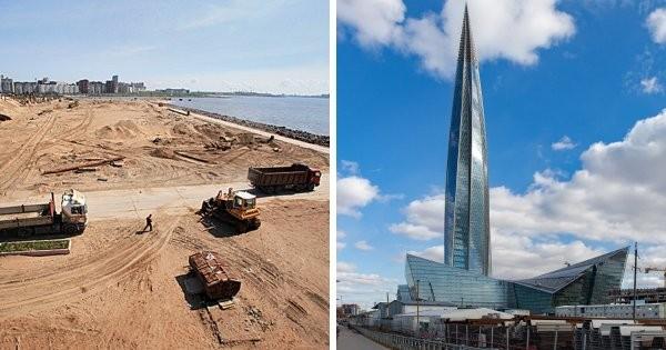 Знаменитые постройки до и после их появления (10 фото)