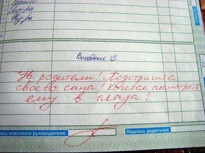 Замечания на страницах школьных дневников (21 фото)
